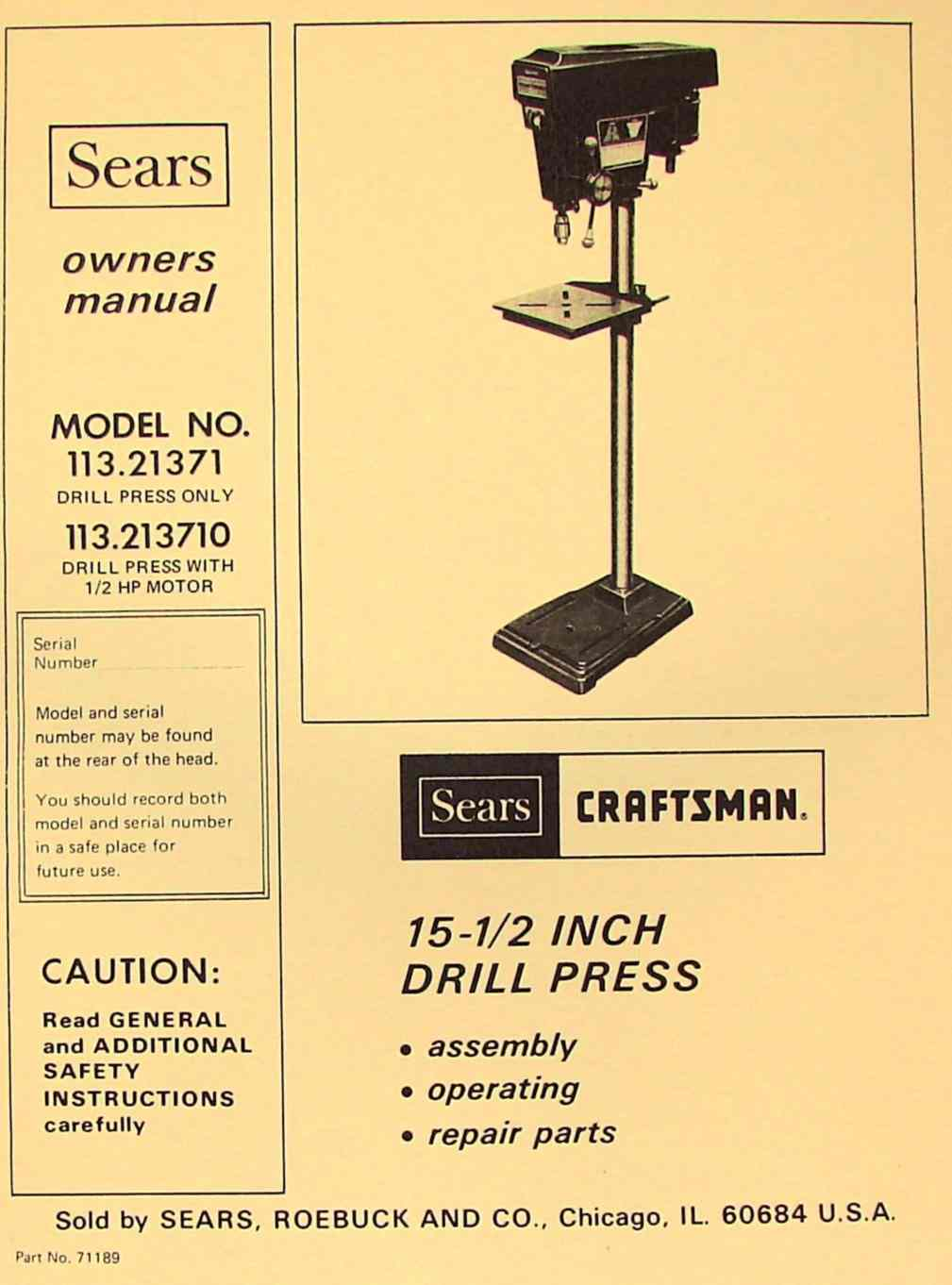CRAFTSMAN 113 21371 & 113 213710 Drill Press 15-1/2