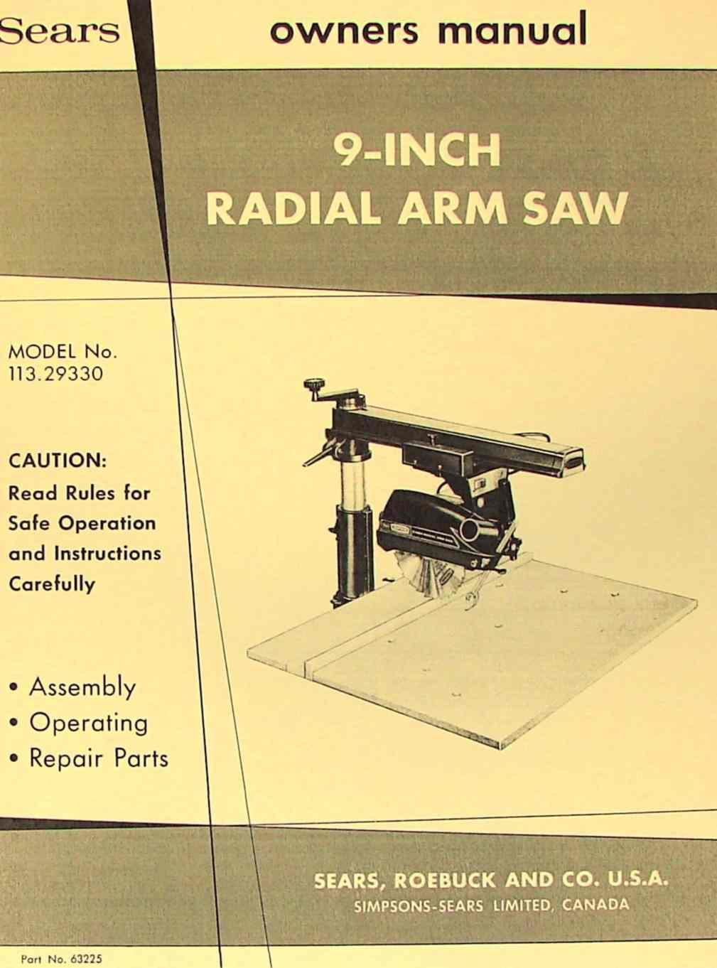 "CRAFTSMAN 113.29330 9"" Radial Arm Saw Operator & Parts Manual   Ozark Tool Manuals & Books"