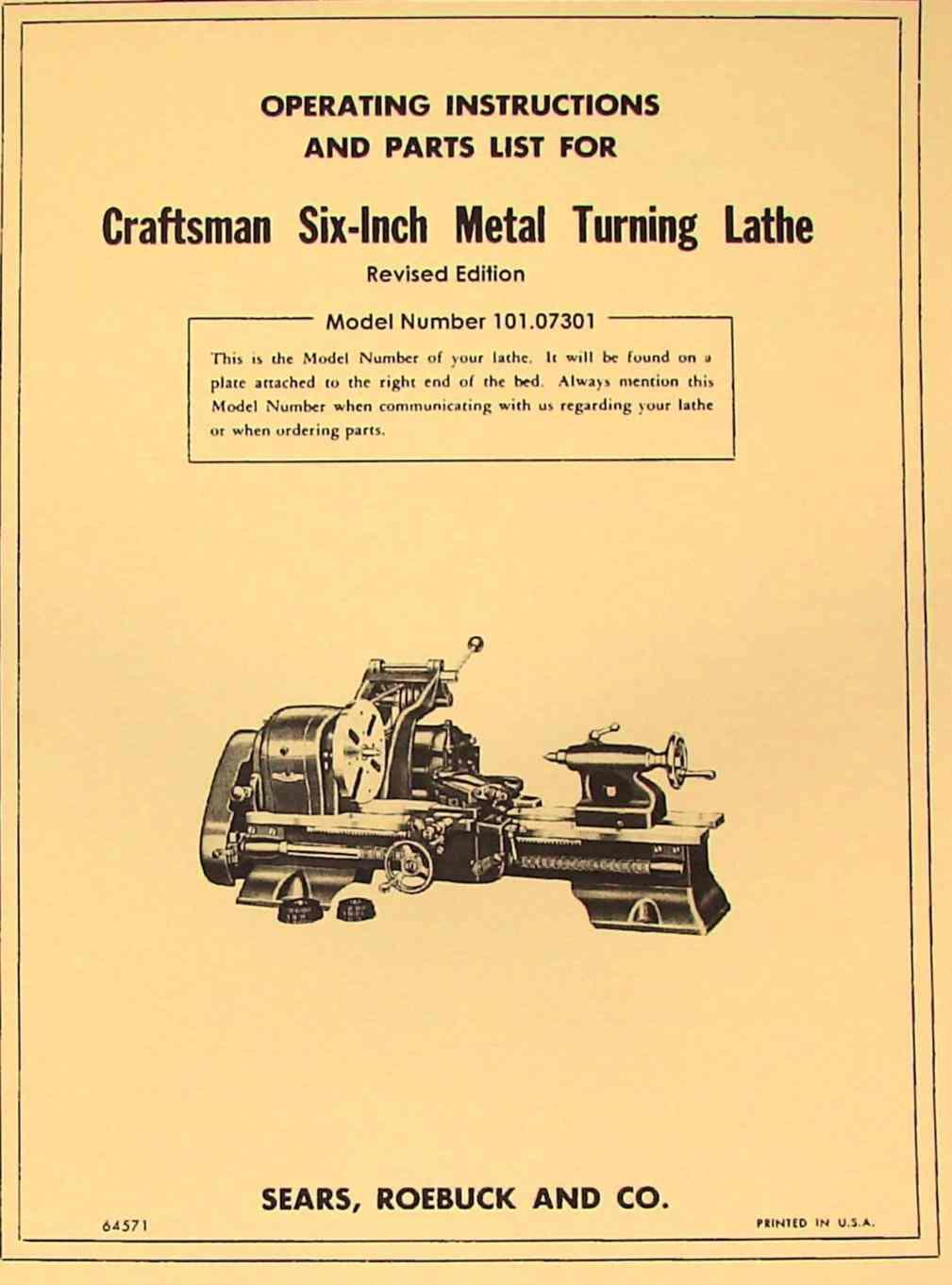 Manual for Craftsman metal Lathe