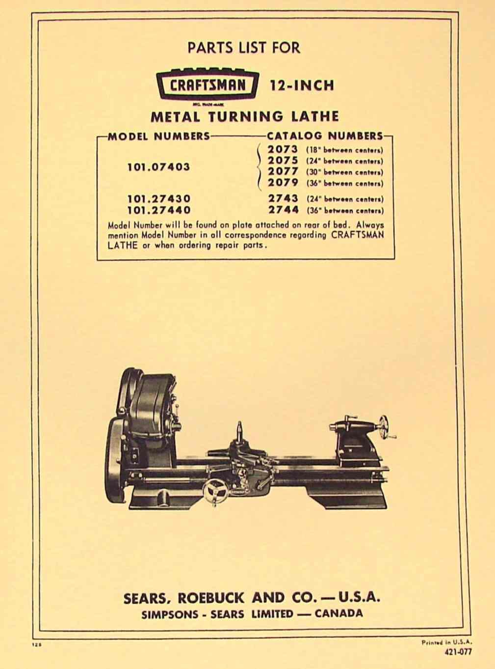 Craftsman Atlas 12 Lathe 101 07403 101 27430 101 27440 Parts