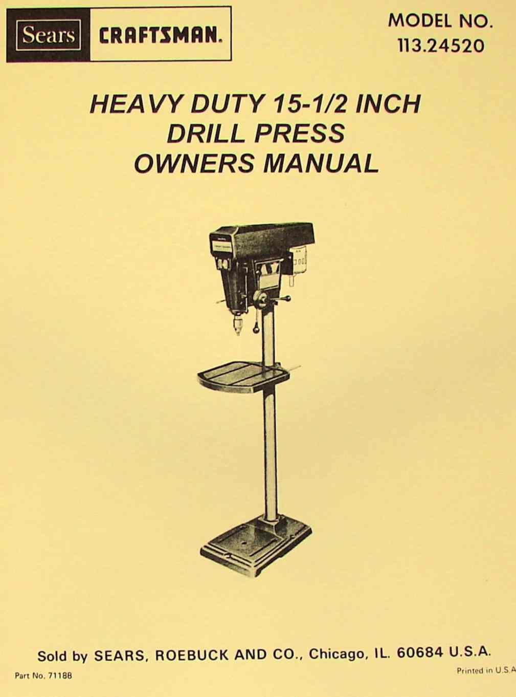 craftsman drill press manual