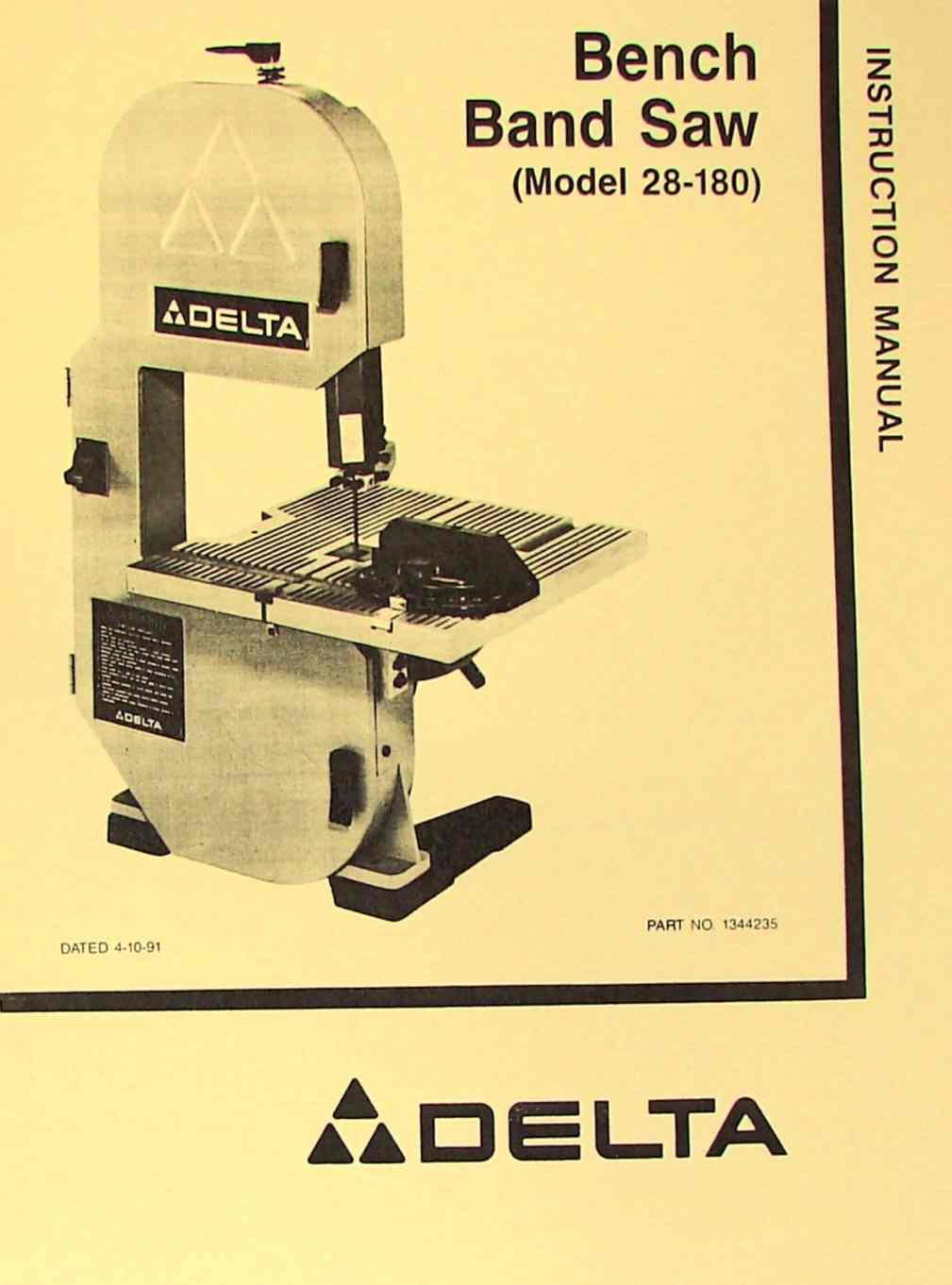 Delta 28 180 Bench Band Saw Instruction Amp Parts Manual
