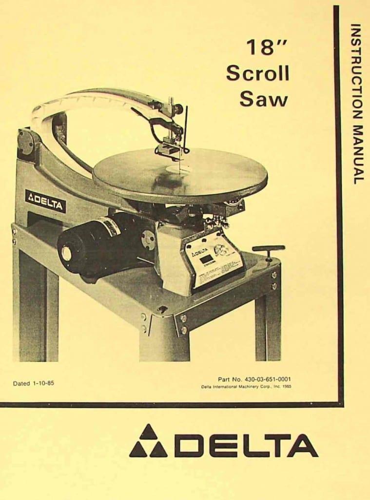 Delta 40 601 18 Quot Scroll Saw Instruction Amp Parts Manual