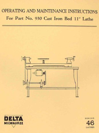 CRAFTSMAN 113.228000 /& 113.228160 Wood Lathe Owner/'s Parts Manual 0791