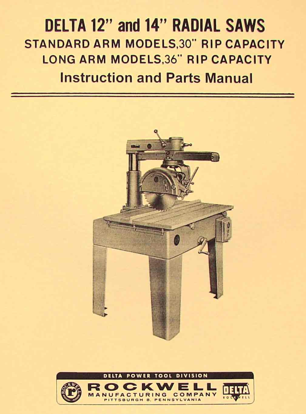 delta-rockwell 12″ & 14″ radial arm saw instructions & parts manual