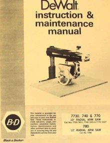 Dewalt 7730 powershop Manual