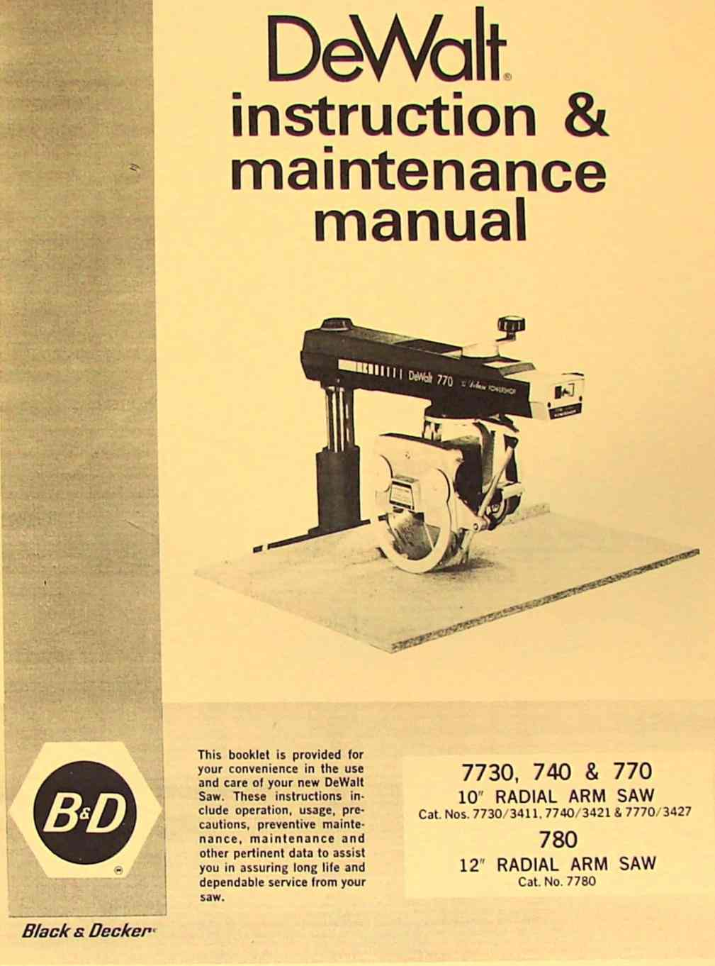 dewalt 780 770 740 10 12 radial arm saw instruction manual rh ozarktoolmanuals com dewalt owners manuals pdf dewalt owners manuals free