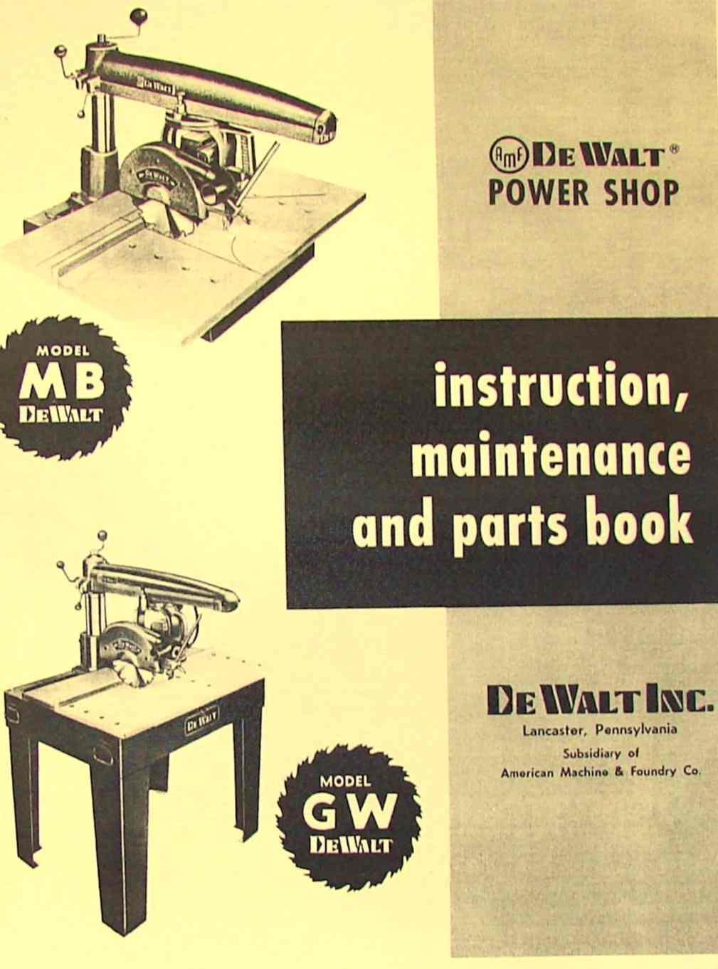 DEWALT MB & GW Radial Arm Saw Instructions & Parts Manual | Ozark Tool Manuals & Books