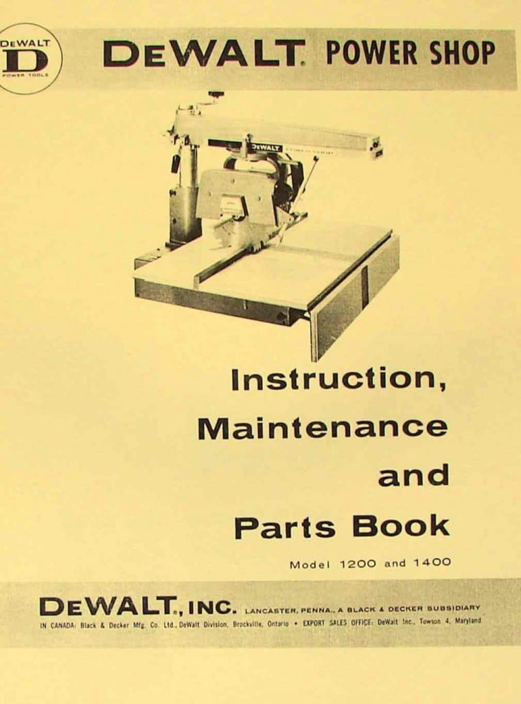dewalt power shop 1200  u0026 1400 radial arm saw instructions