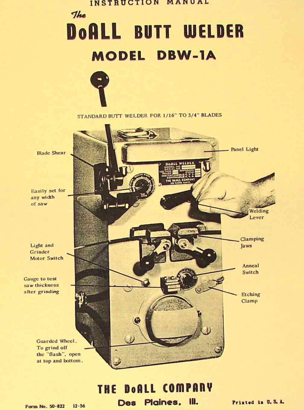 DOALL Butt Welder DBW-1A Instructions & Part Manual ...