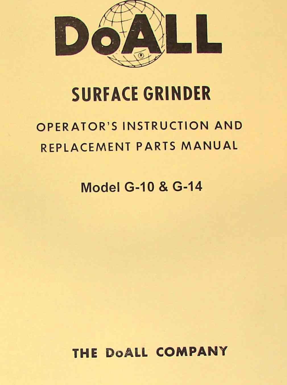 doall g 10 g 14 surface grinder instruction parts manual ozark rh ozarktoolmanuals com Operators Manual Instruction Manual Book