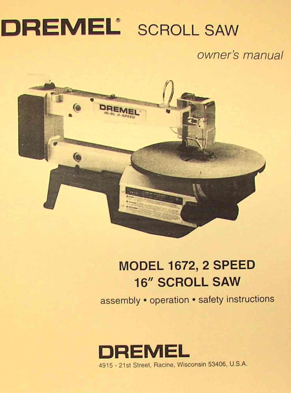 "DREMEL Model 1672 16"" Scroll Saw Owner's & Parts Manual | Ozark Tool Manuals & Books"