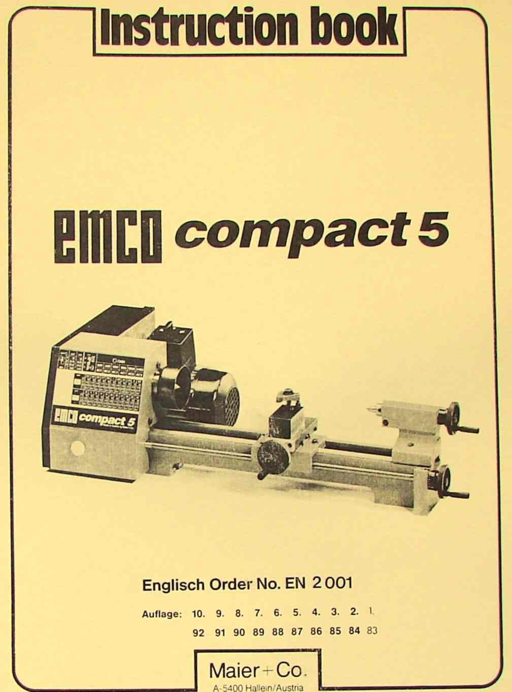 EMCO Compact 5 Metal Lathe Instruction Manual | Ozark Tool Manuals & Books