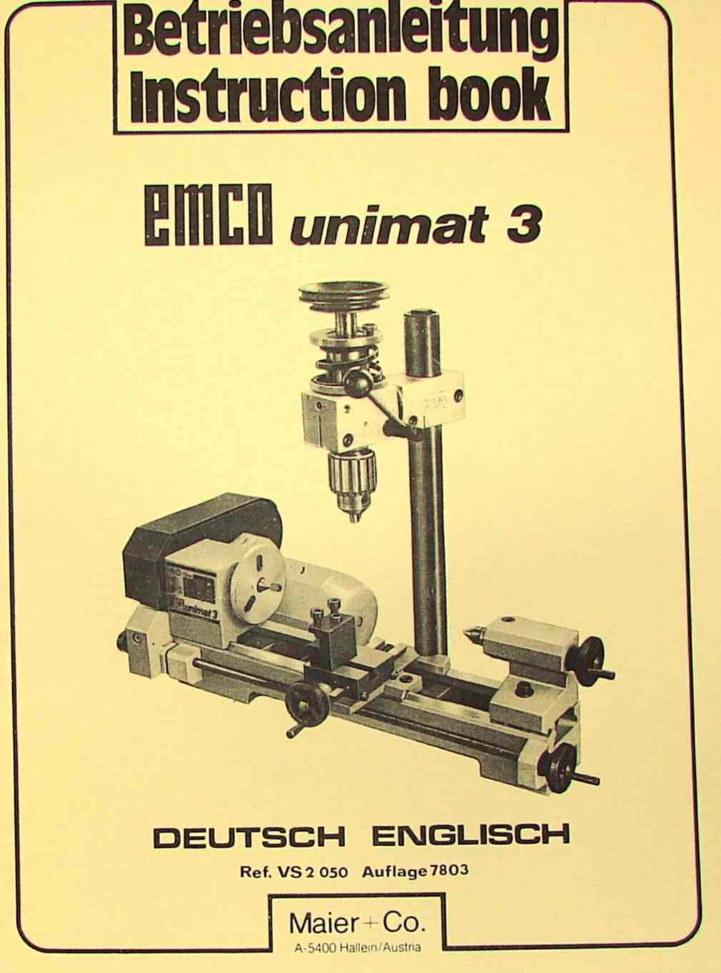 EMCO Unimat 3 Mill Metal Lathe Instruction Manual | Ozark Tool Manuals & Books