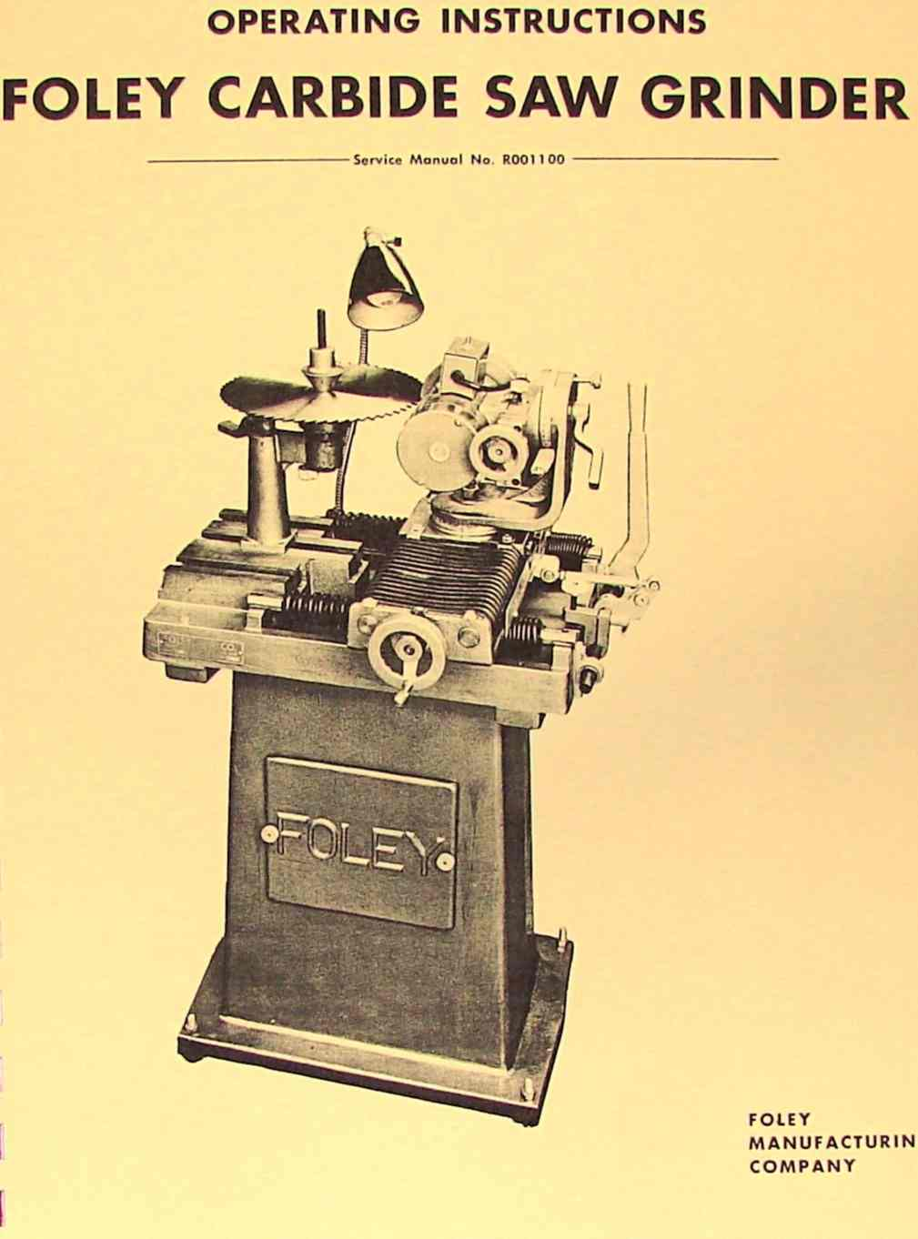 Swell Foley 357 Carbide Saw Grinder Operators Parts Manual Caraccident5 Cool Chair Designs And Ideas Caraccident5Info