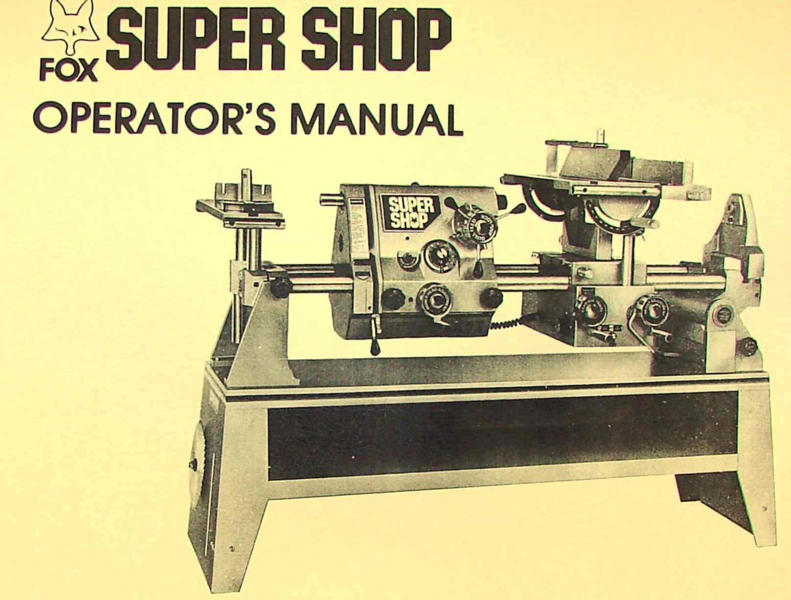 FOX SuperShop Multi-Purpose Lathe Operator Part Manual | Ozark Tool Manuals  & Books
