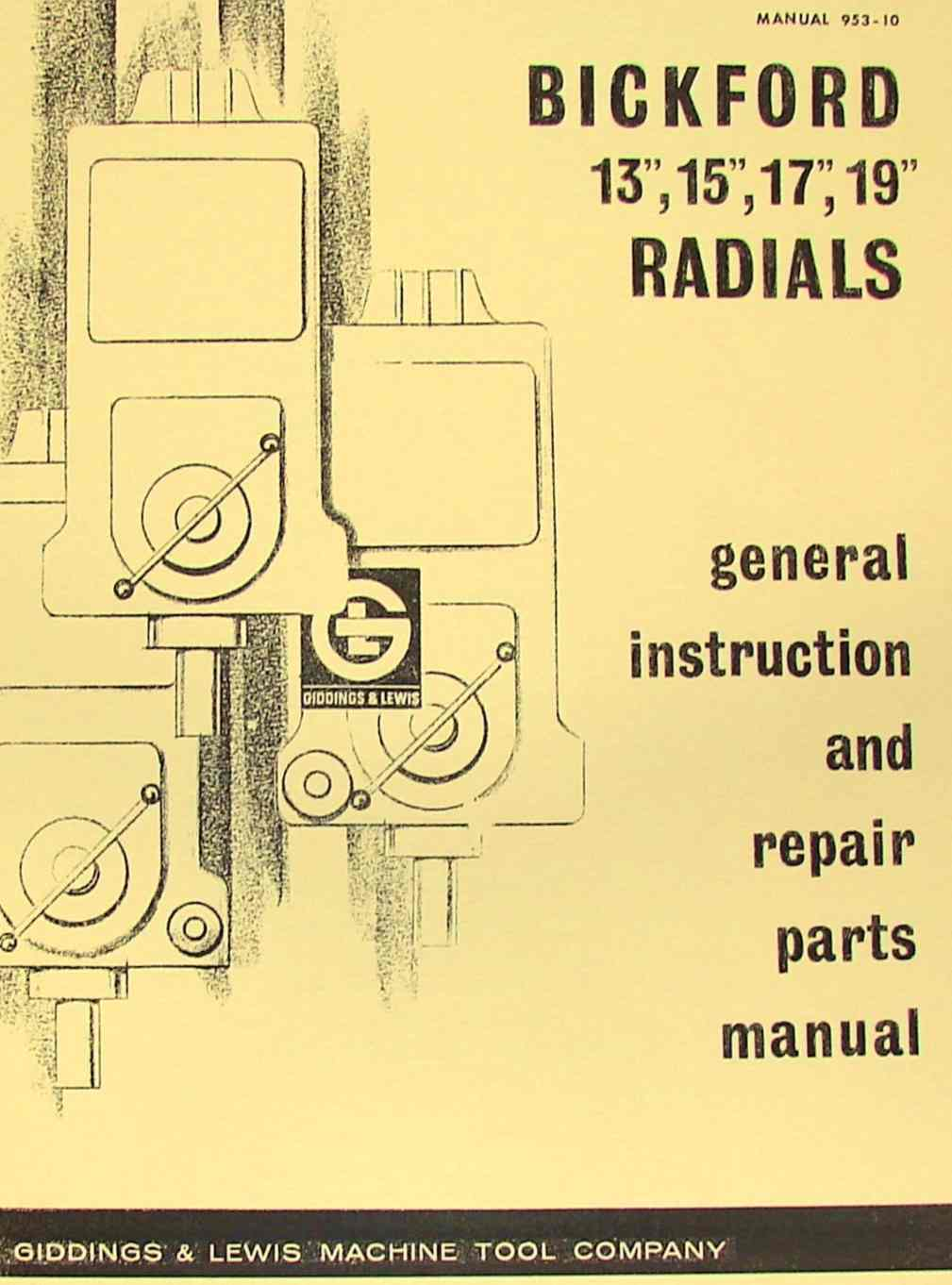 GIDDING & LEWIS Bickford Radial Drill Operator's & Parts Manual   Ozark  Tool Manuals & Books