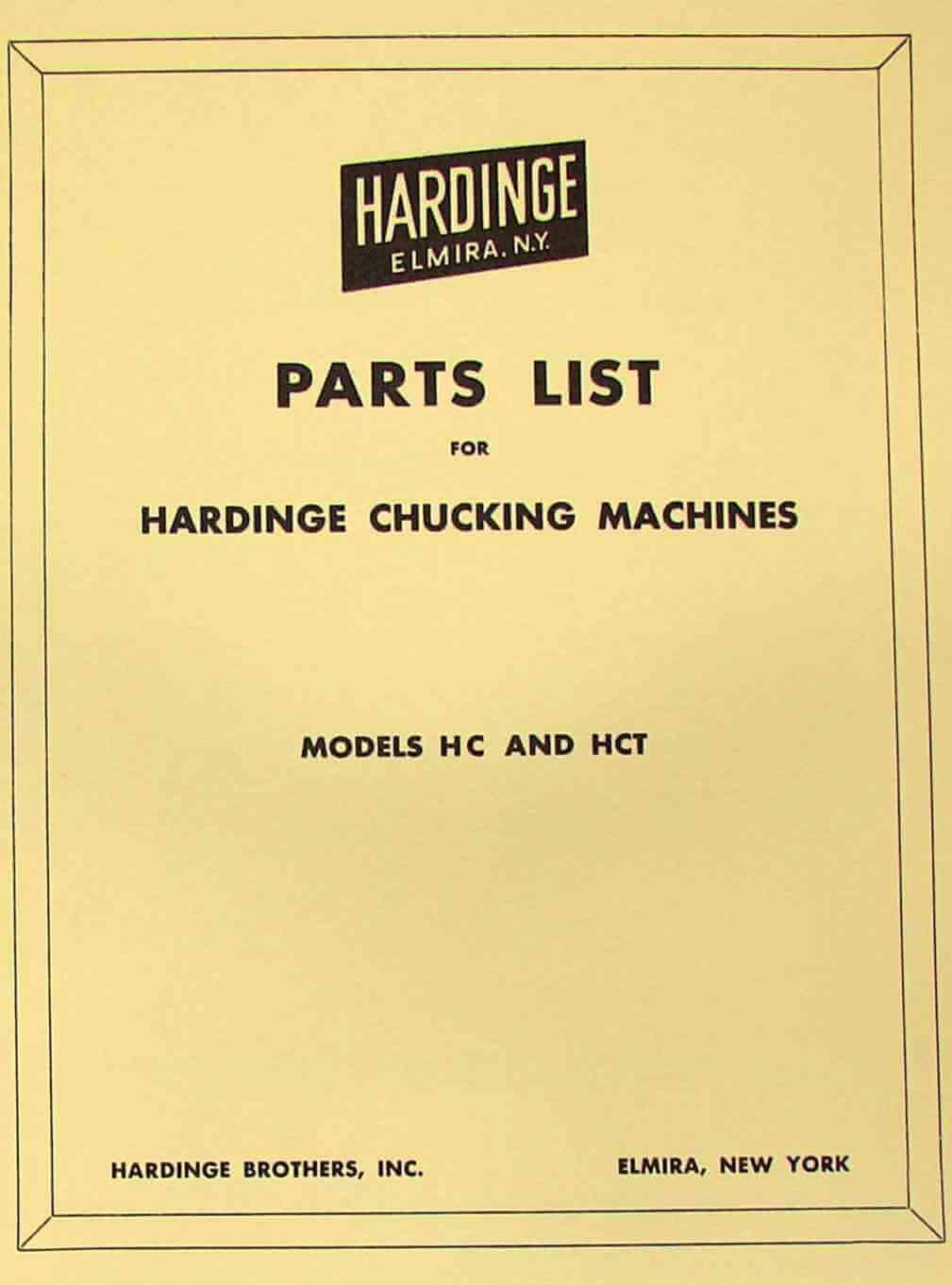 HARDINGE HC & HCT Chucking Lathe Parts Manual | Ozark Tool Manuals & Books