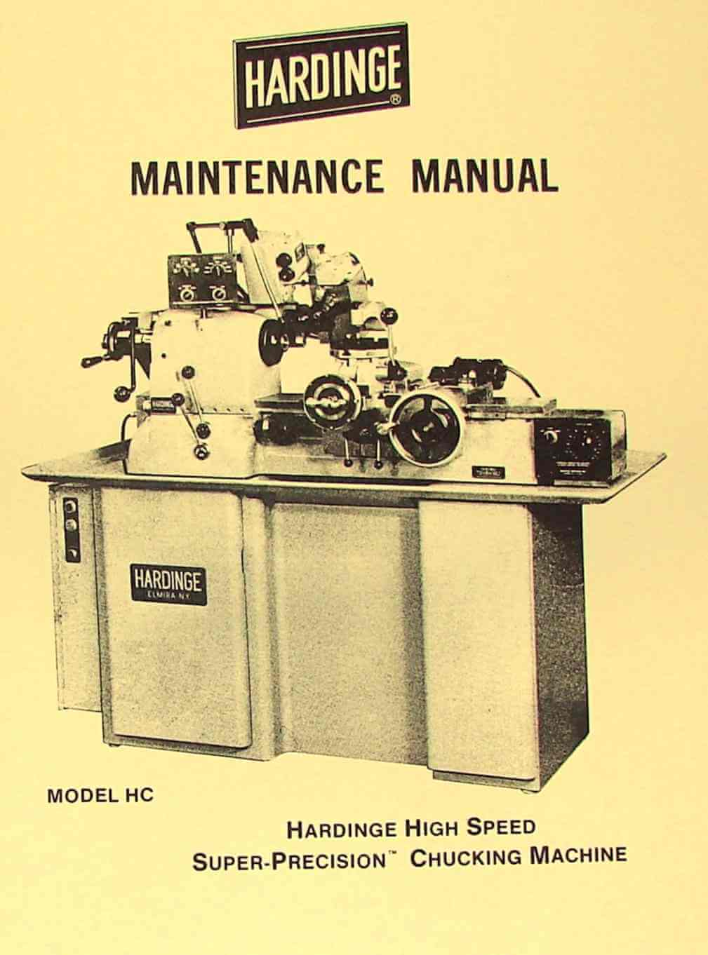hardinge hc hct chucking lathe maintenance manual ozark tool rh ozarktoolmanuals com hardinge manual lathe for sale hardinge lathe parts list