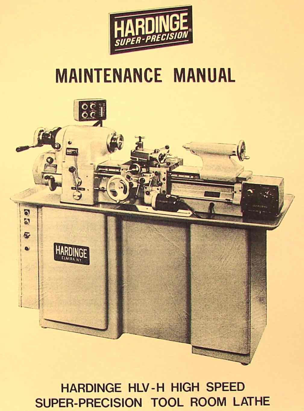 hardinge hlv h metal lathe maintenance manual ozark tool manuals rh ozarktoolmanuals com hardinge lathe parts list hardinge manual lathe for sale