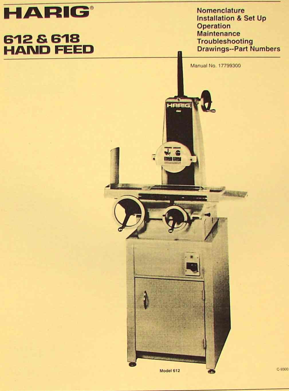 HARIG 612 & 618 Manual Hand Feed Surface Grinder Manual | Ozark Tool Manuals & Books