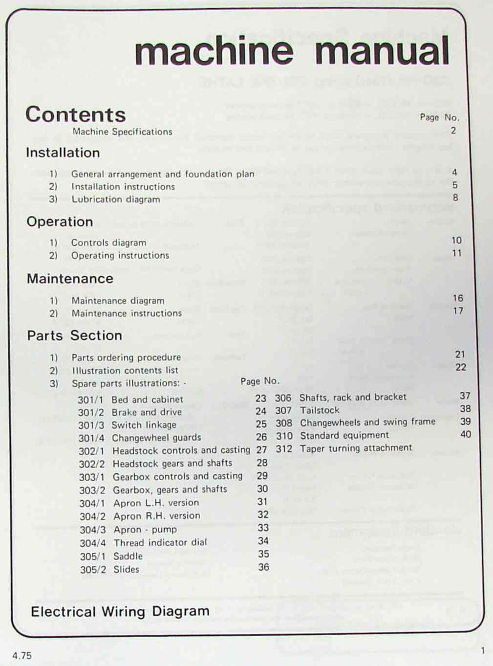 HARRISON M300 Metal Lathe Operator and Parts Manual | Ozark Tool Manuals & Books