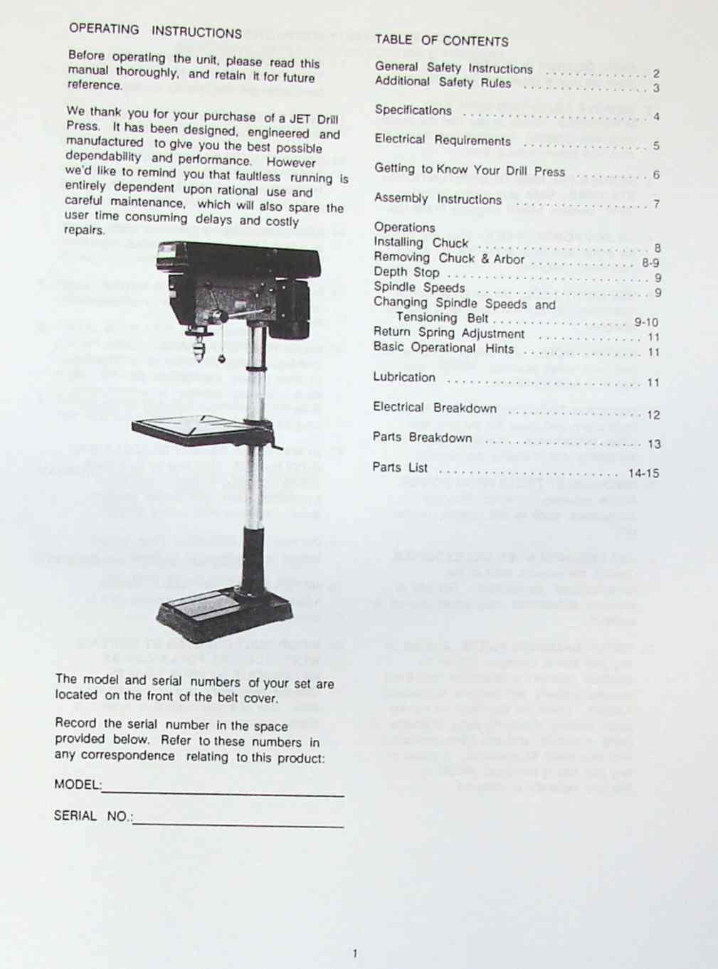 "JET-Asian JDP-20MF 20"" Step-Pulley Drill Press Operator's Parts Manual | Ozark Tool Manuals & Books"