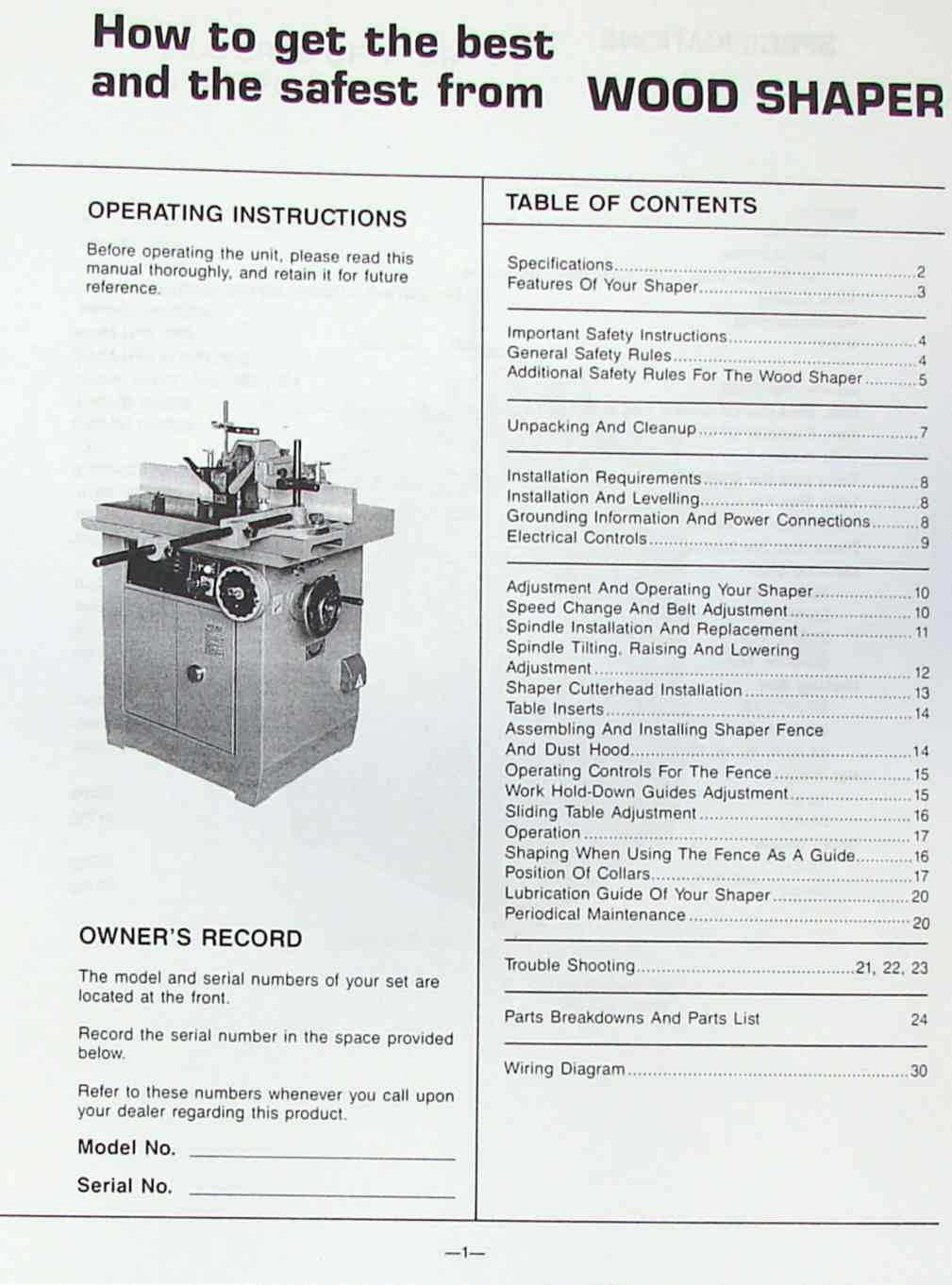 Jet Shaper Wiring Diagram Libraries Lathe Electrical Symbol Libraryjet Asian Ss 511 512 Large Wood Spindle Operator