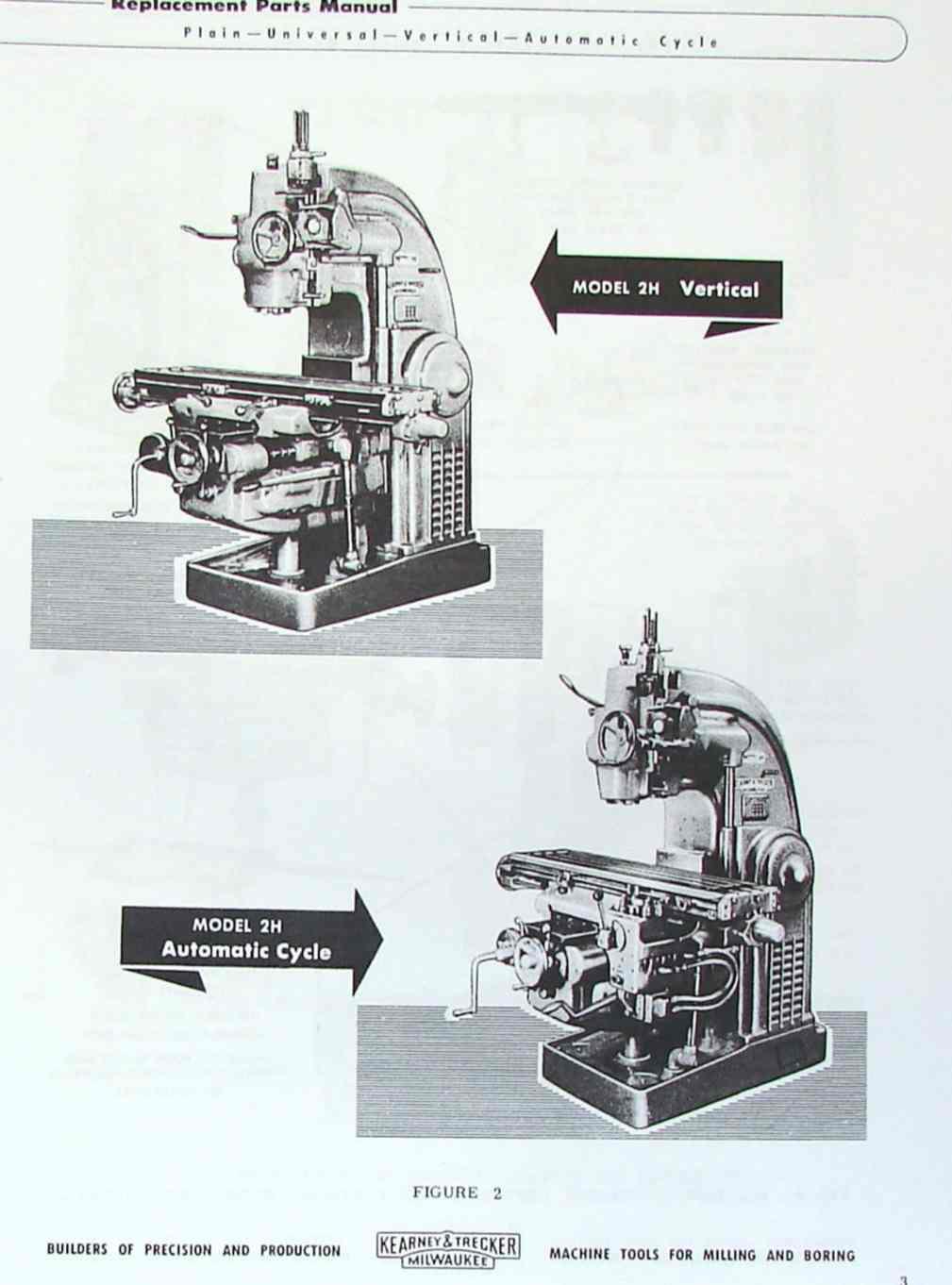 kearney trecker milwaukee model h 2h milling machines parts manual rh ozarktoolmanuals com Portable Milling Machine Milwaukee Portable Milling Machine Milwaukee