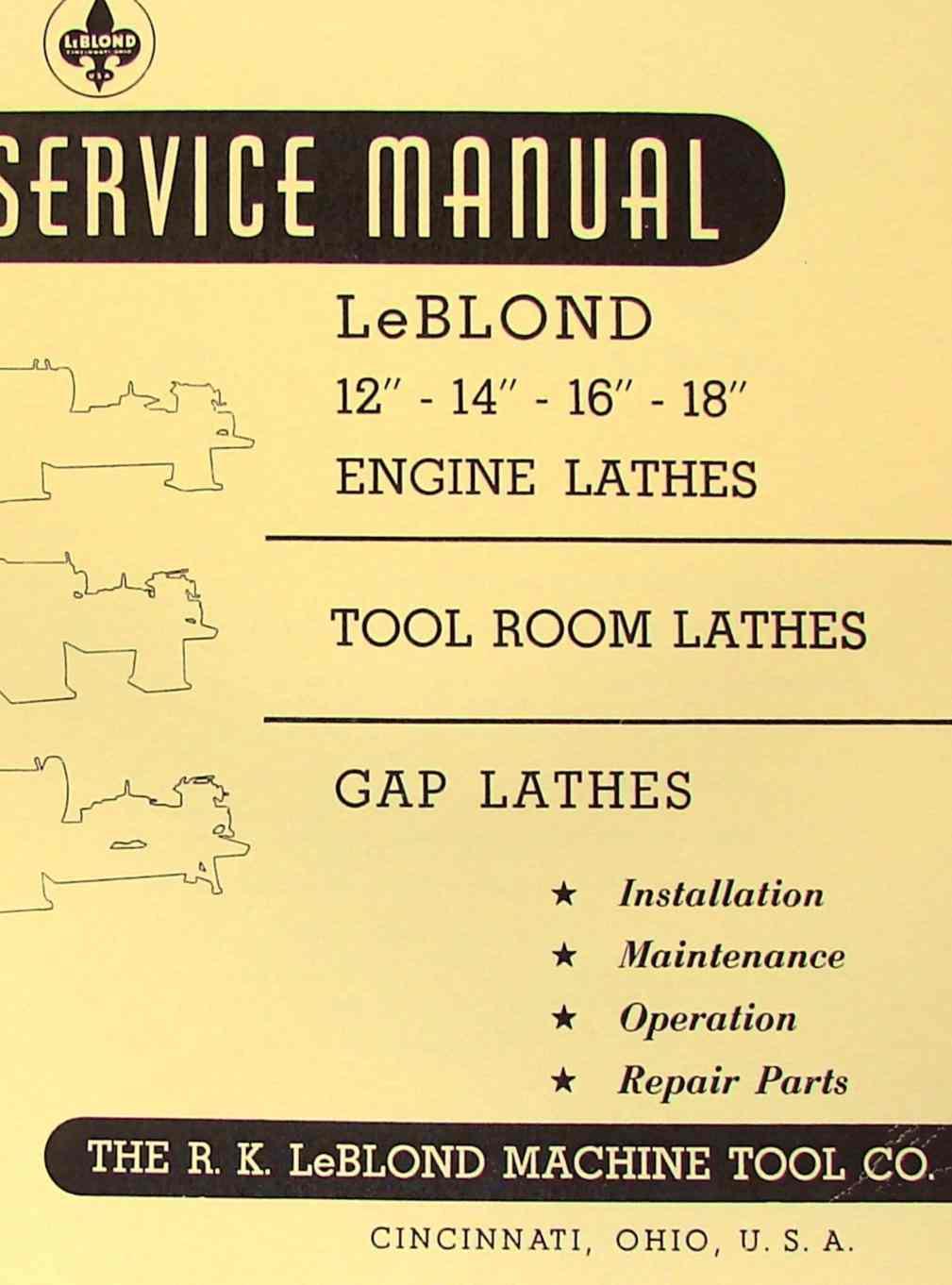 "LEBLOND 12""14""16""18"" Engine Metal Lathe Operator Parts Manual | Ozark Tool  Manuals & Books"