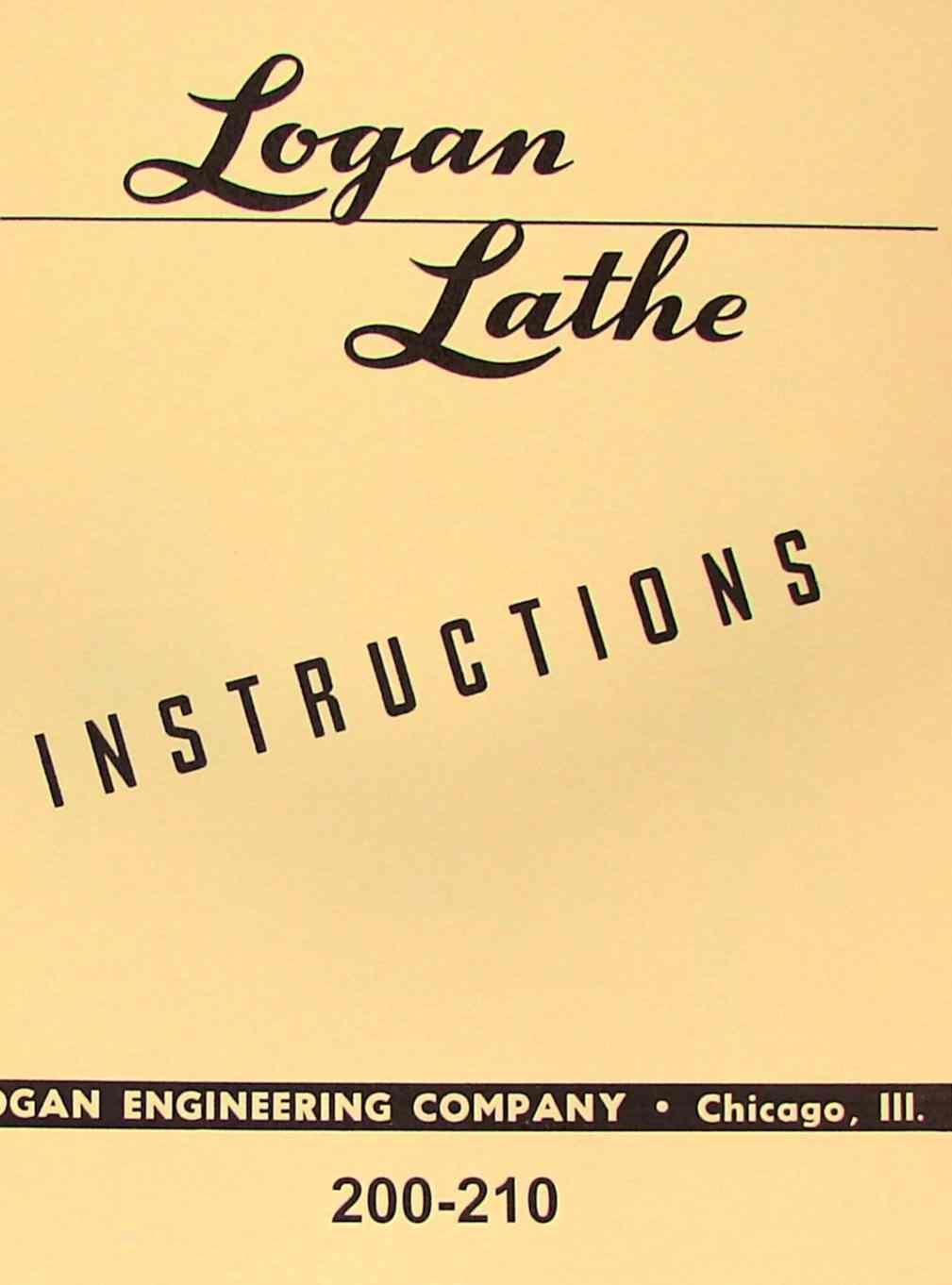 Logan 200 Lathe Wiring Diagram Basic Schematic Metal 210 Instructions Manual Ozark Tool Manuals Bridgeport Lathes