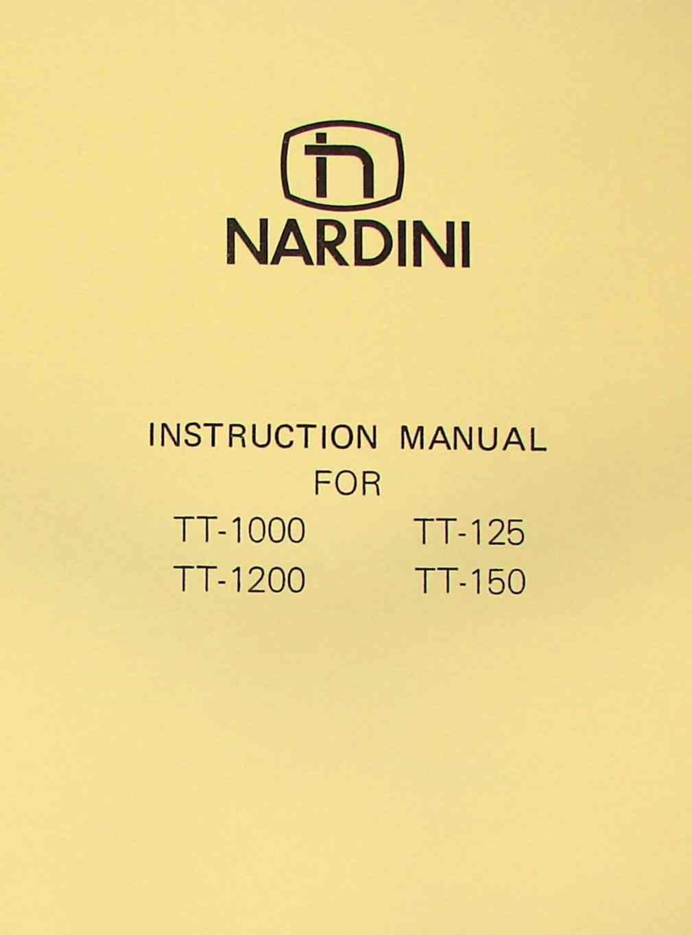 nardini tt 1000 1200 125 150 operator s part manual ozark tool rh ozarktoolmanuals com nardini ms 1440 manual