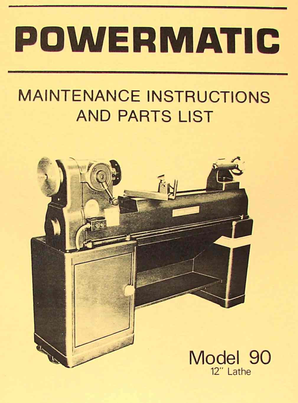 "Powermatic 10"" /& 11"" Lathe Maintenance /& Parts Manual"