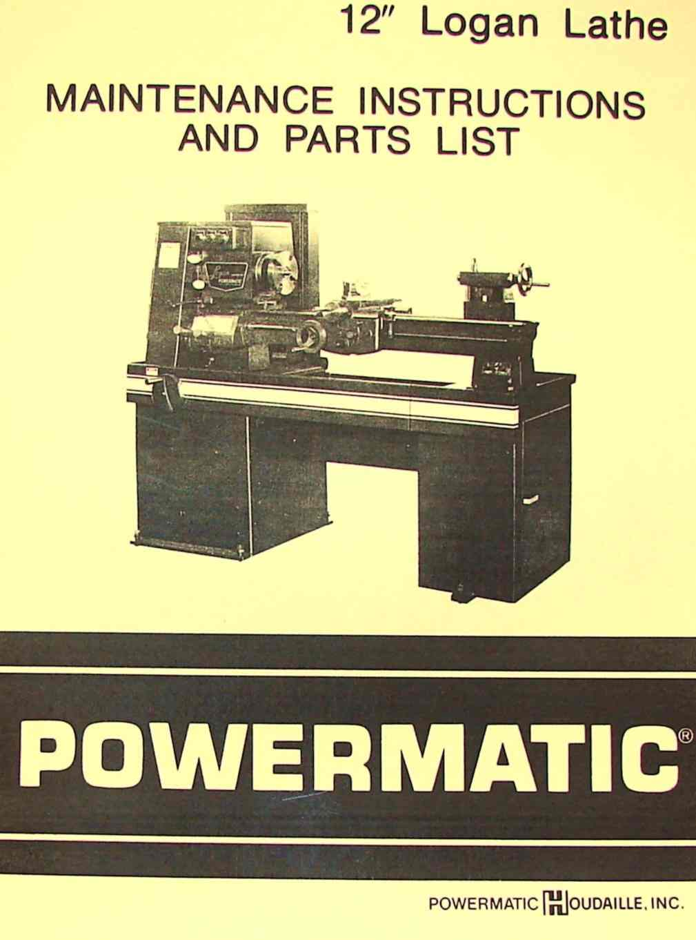 POWERMATIC Logan 12 quot Metal Lathe Parts Manual Ozark Tool