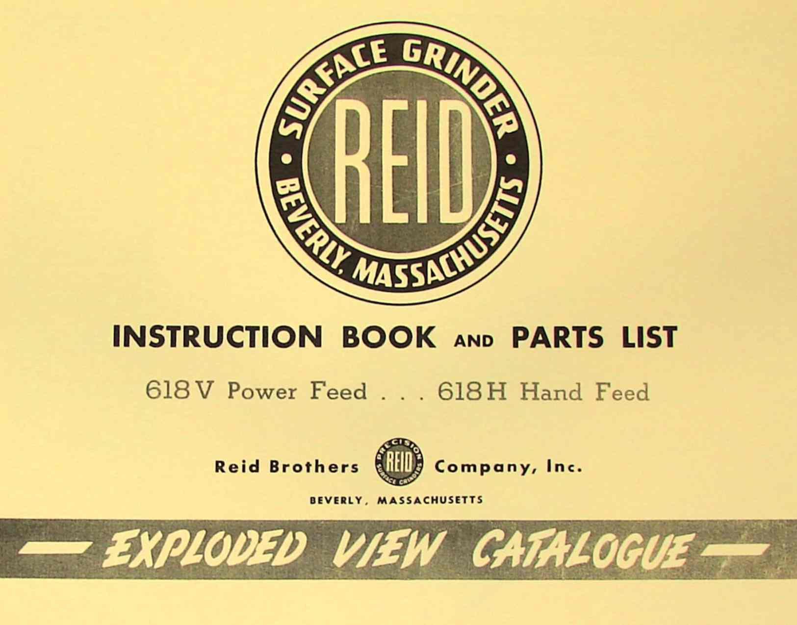 reid 618v 618h surface grinder instruction manual