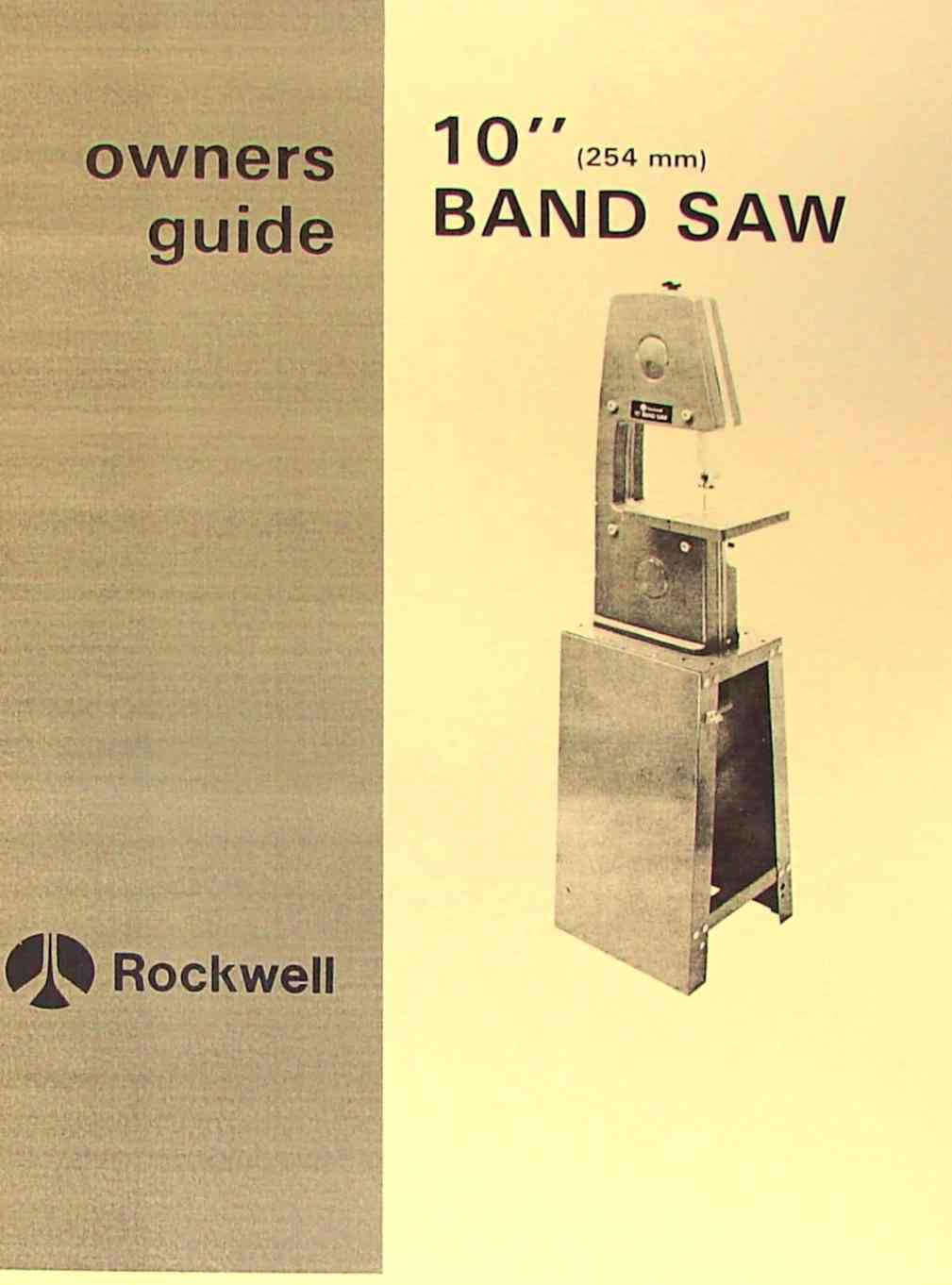 ROCKWELL 10 inch Band Saw Instruction & Parts Manual | Ozark Tool Manuals & Books
