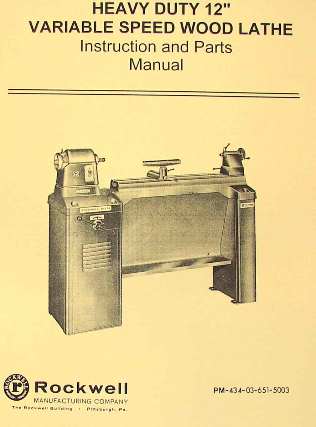 Rockwell 12 Quot Newer Style Variable Wood Lathe Manual