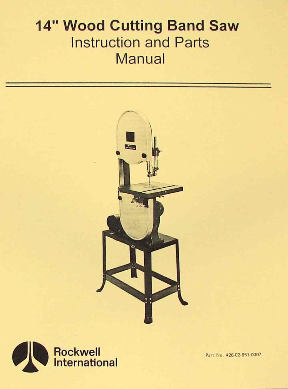 rockwell 14 wood band saw instruction parts manual ozark tool rh ozarktoolmanuals com Instruction Manual Book Instruction Manual Book