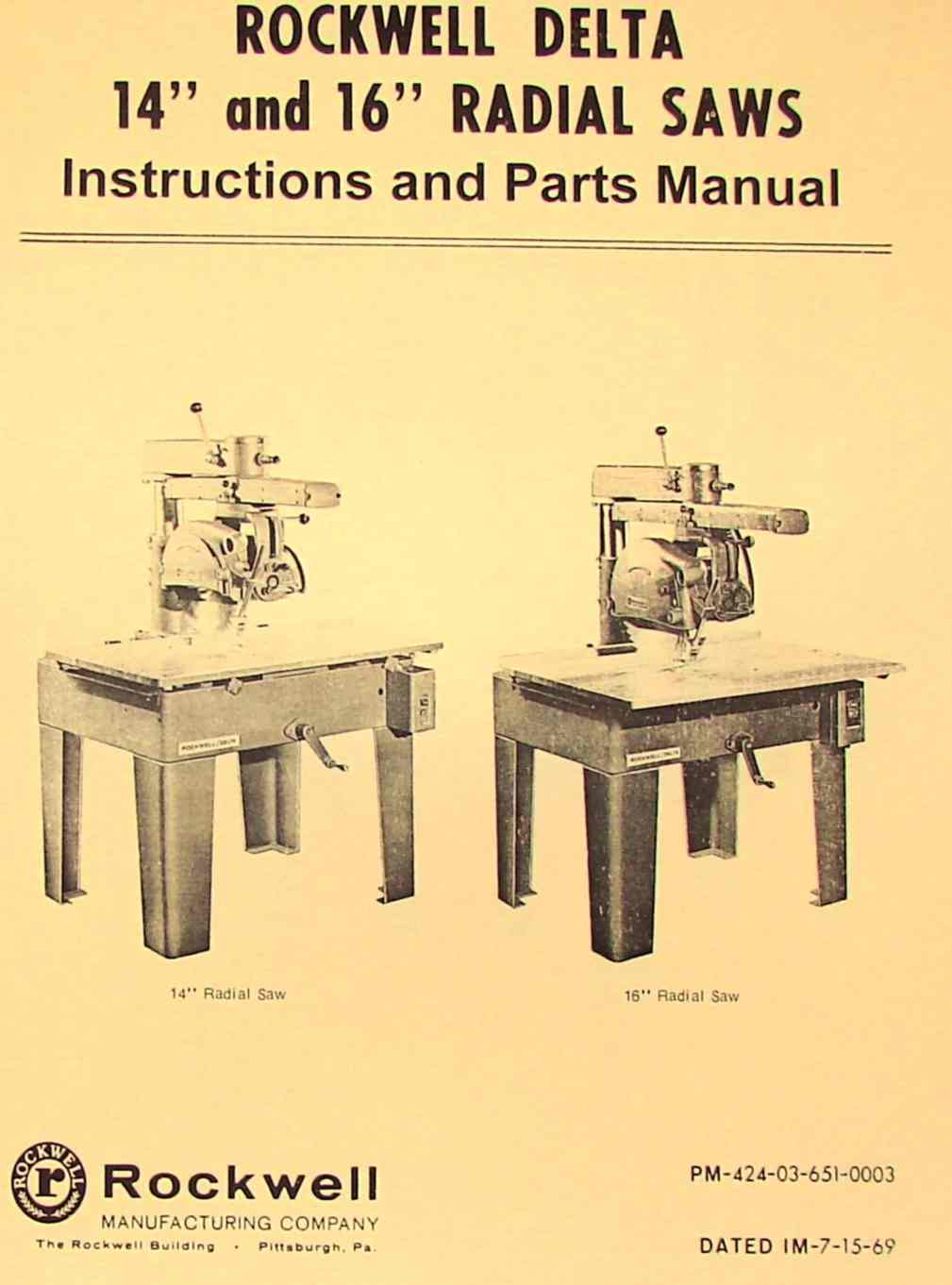rockwell 14″ & 16″ radial arm saw parts manual