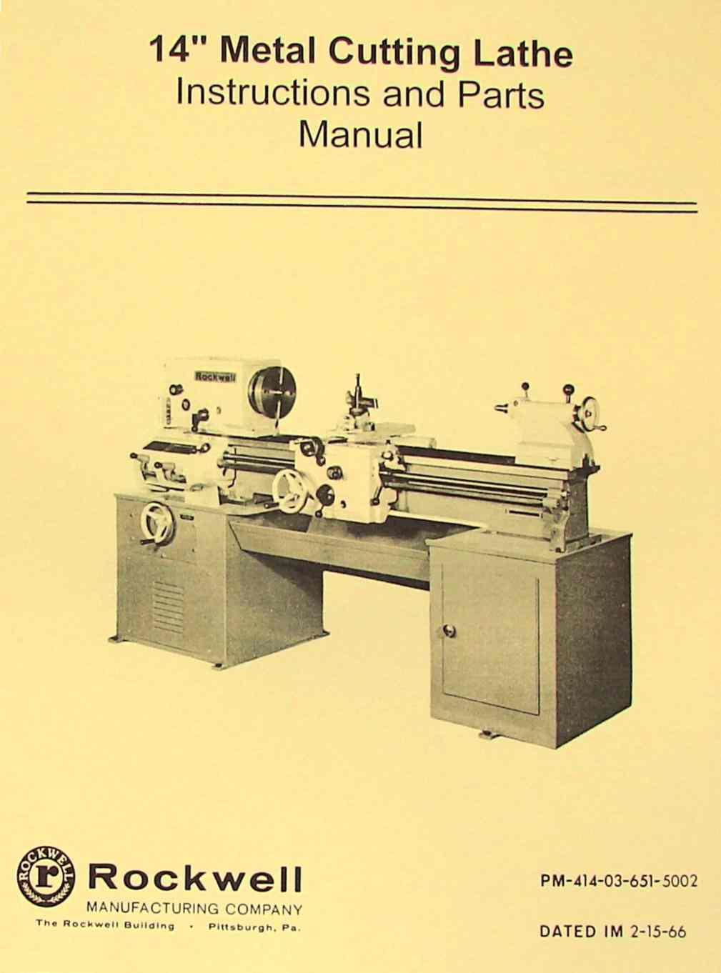 "ROCKWELL 14"" Cabinet Lathe Older Operating-Parts Manual | Ozark Tool Manuals  & Books"