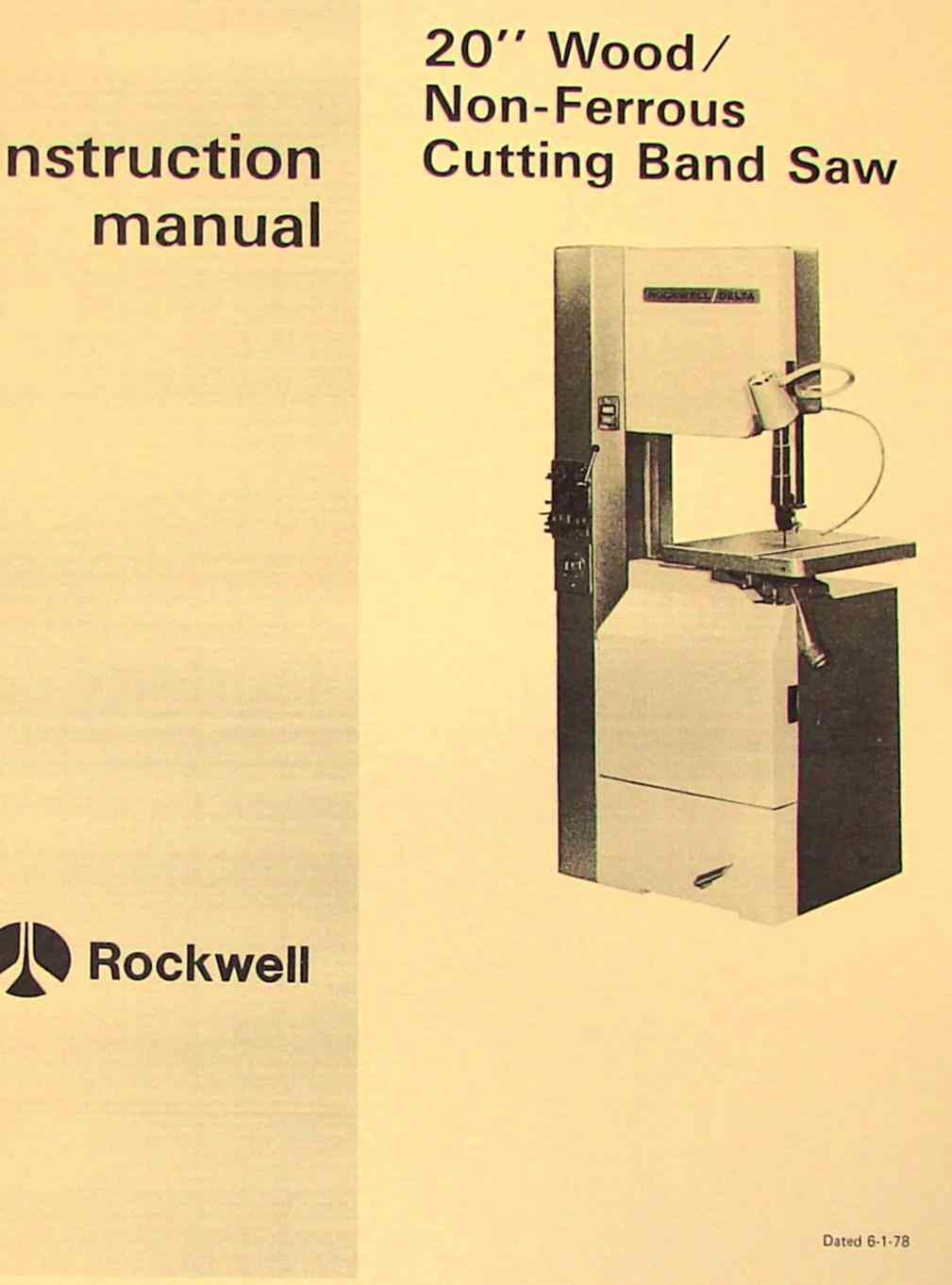 Rockwell 20 Inch Wood Non Ferrous Metal Band Saw Manual