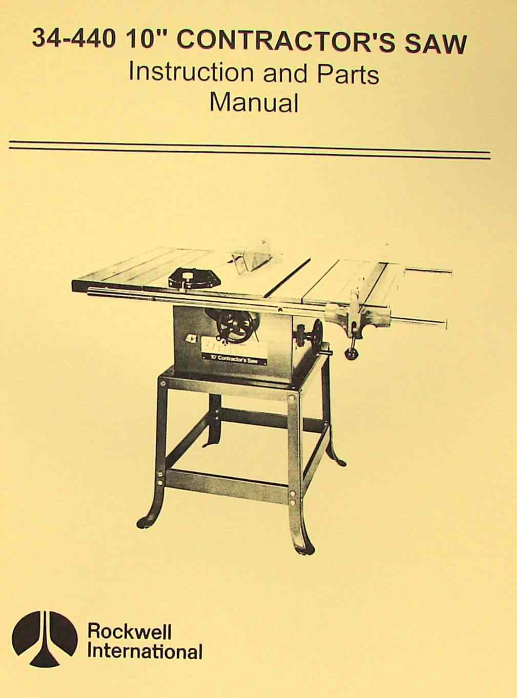 Rockwell 34 440 10 Contractor S Saw Parts Manual