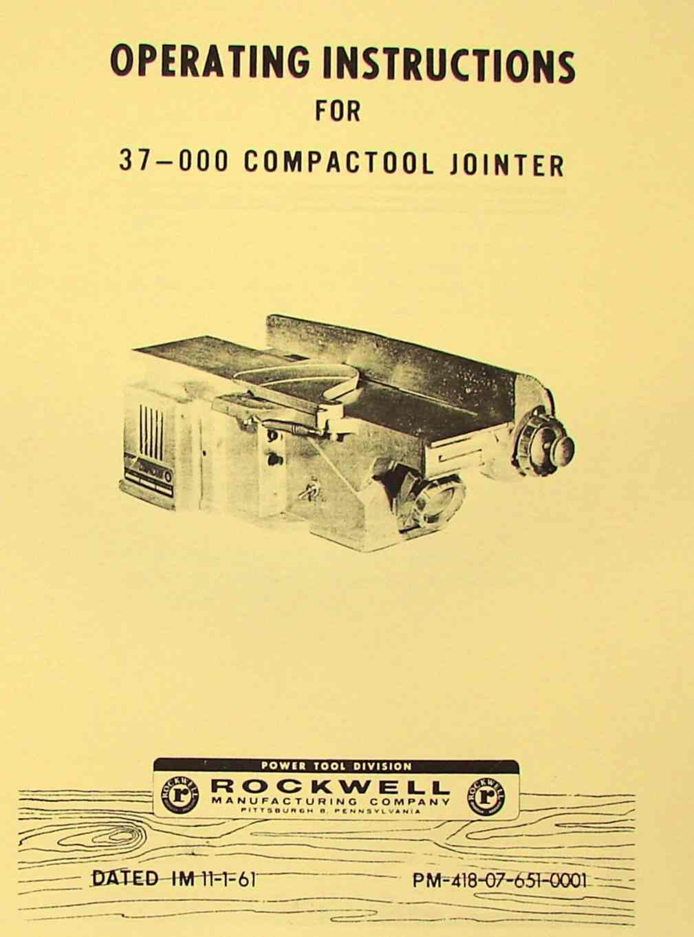 ROCKWELL 37-000 Compactool Jointer Parts Manual | Ozark Tool Manuals & BooksOzark Tool Manuals