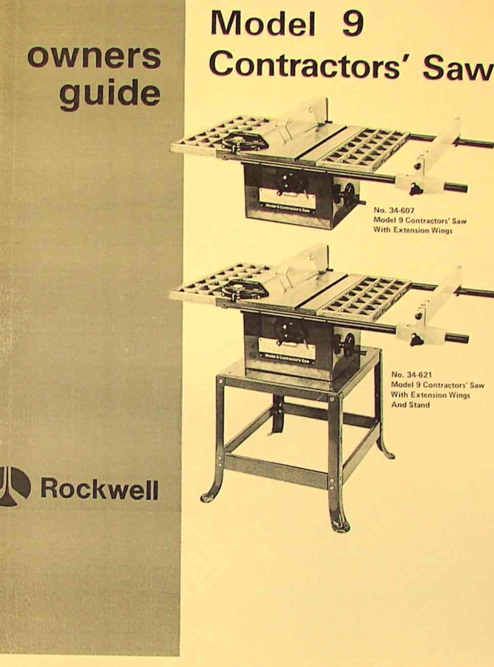 Rockwell Model 9 Contractors Saw Operator S Parts Manual