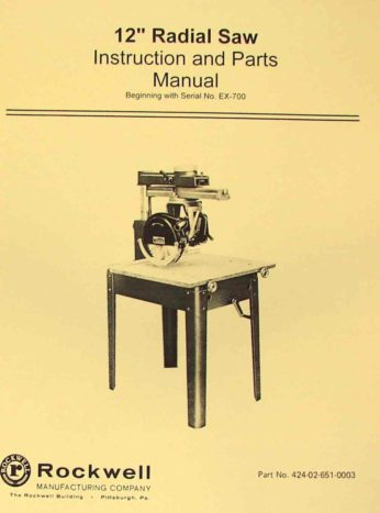 """ROCKWELL 14/"""" /& 16/"""" Radial Arm Saw Parts Manual 0594"""