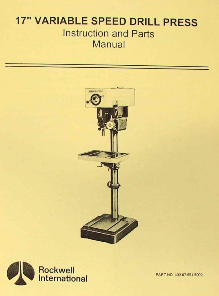 Rockwell Delta 17 Quot Variable Speed Drill Press Manual