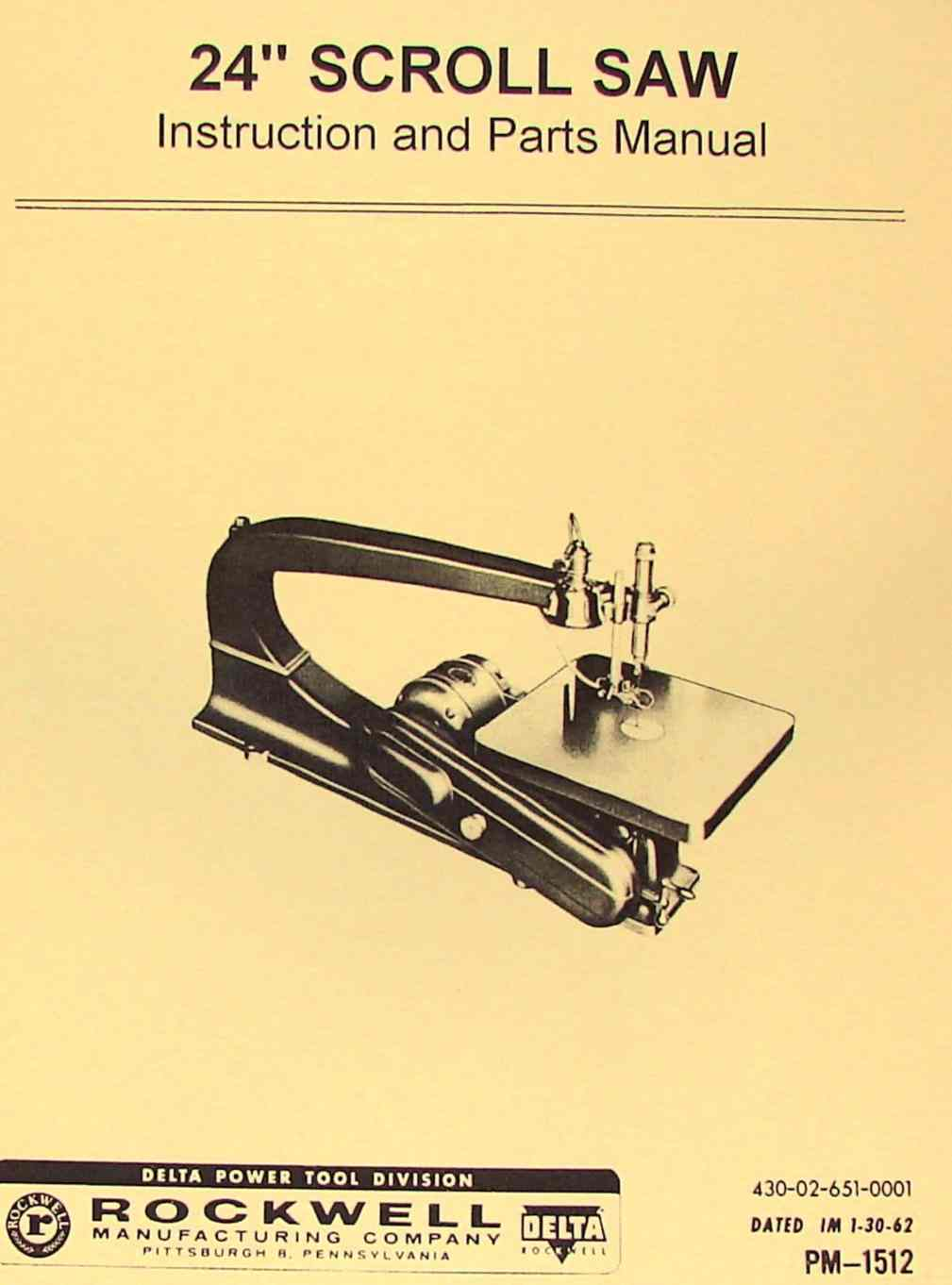 "ROCKWELL-Delta 24"" Scroll/Jig Saw Operator's & Parts Manual 