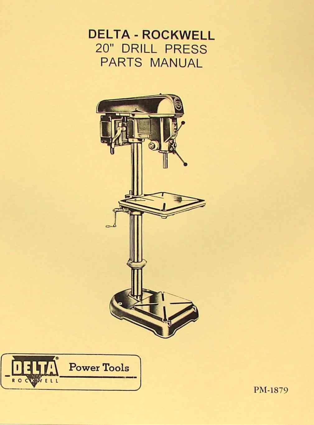 rockwell delta 20 drill press dp1171 head operators parts manual rh ozarktoolmanuals com delta 12 drill press manual delta 12 drill press manual