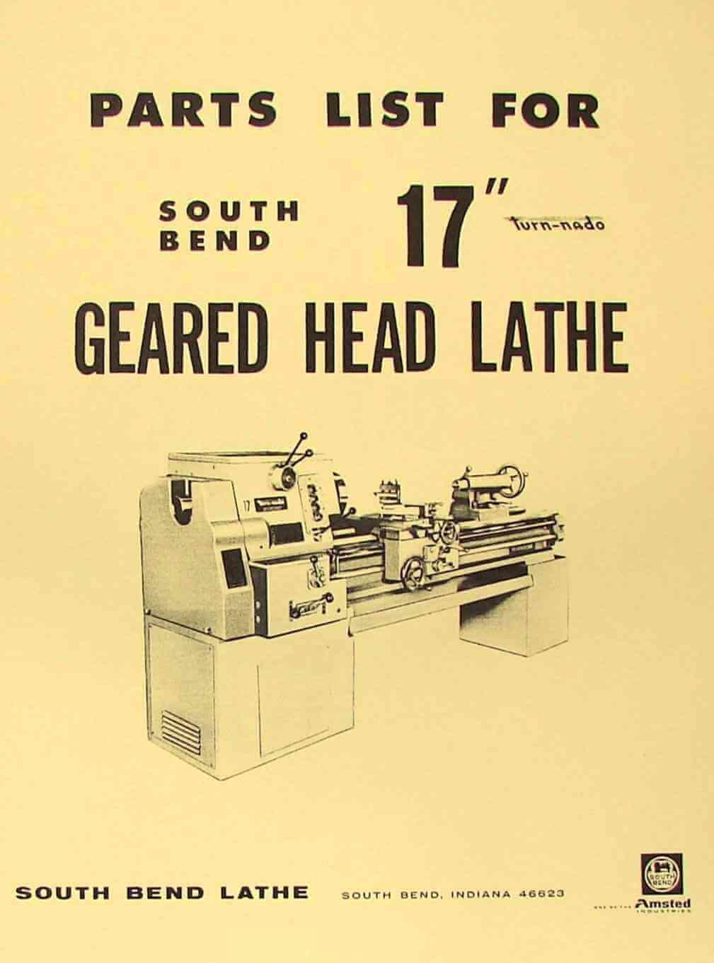 "SOUTH BEND 17/"" Turn-nado Gear Head Lathe Parts Manual 0670"