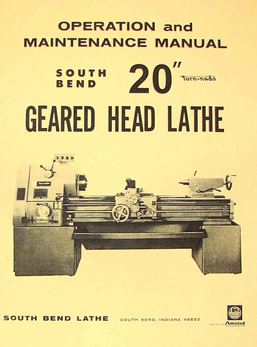 SOUTH BEND 20 Turn-nado Gear Lathe Operators Manual